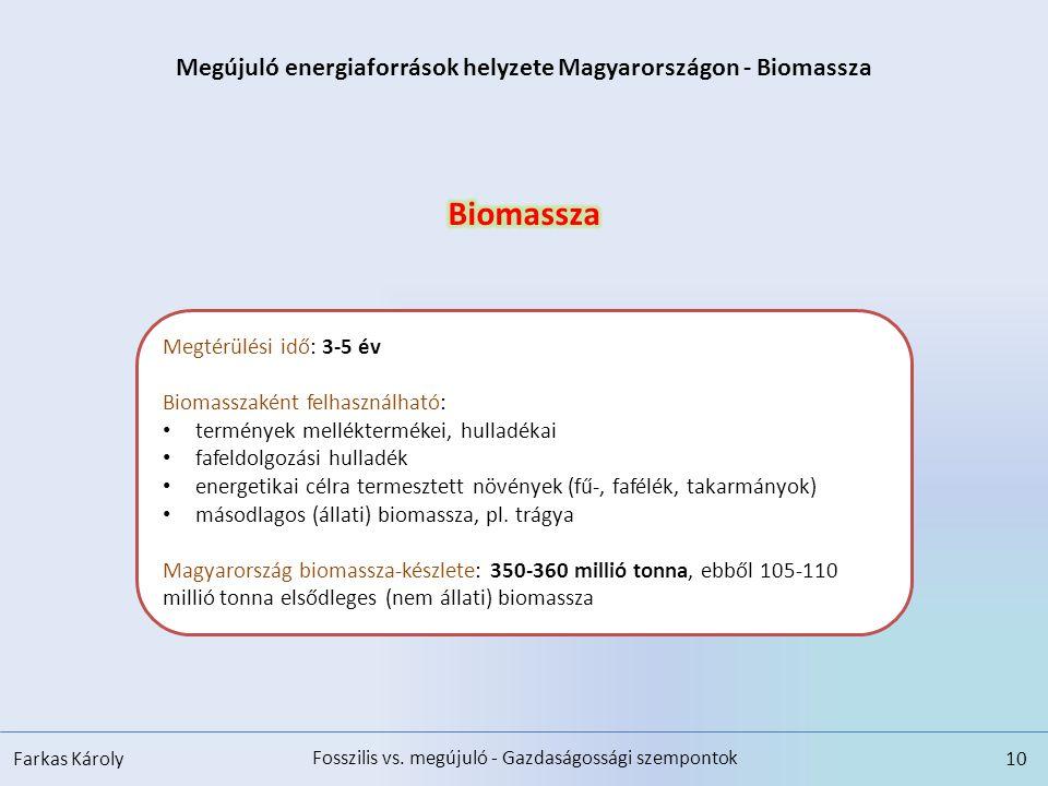Megújuló energiaforrások helyzete Magyarországon - Biomassza