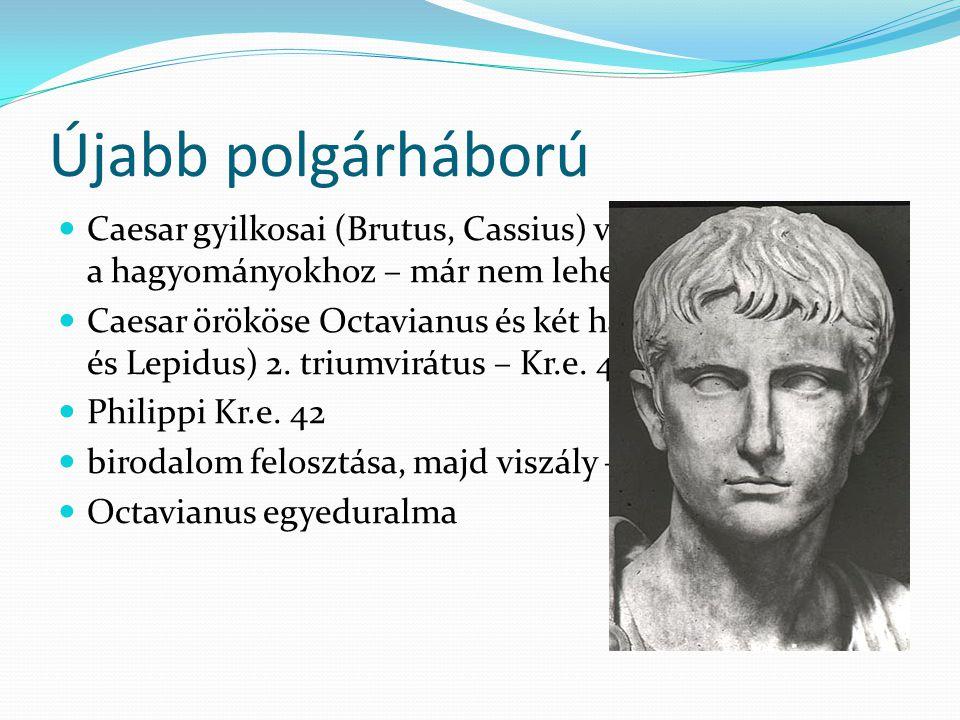 Újabb polgárháború Caesar gyilkosai (Brutus, Cassius) vissza akarnak térni a hagyományokhoz – már nem lehet.