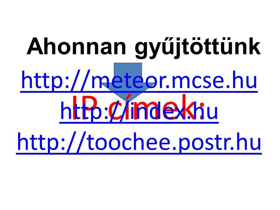 IP címek: http://meteor.mcse.hu http://index.hu