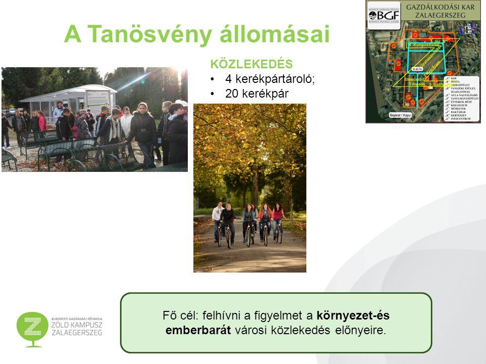 A Tanösvény állomásai KÖZLEKEDÉS 4 kerékpártároló; 20 kerékpár