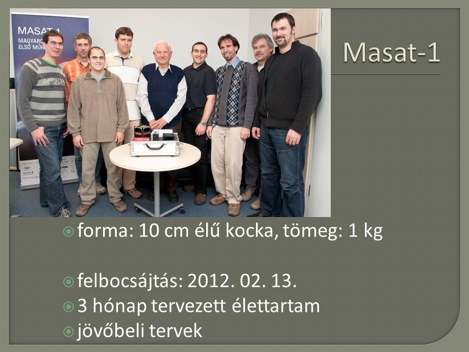 Masat-1 poláris pálya forma: 10 cm élű kocka, tömeg: 1 kg