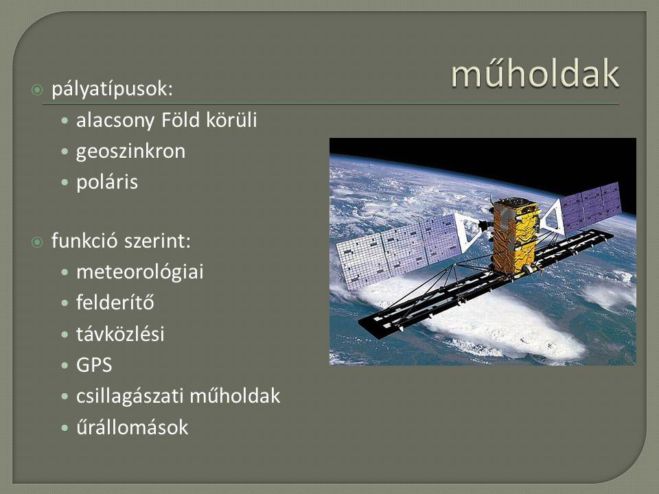 műholdak pályatípusok: alacsony Föld körüli geoszinkron poláris