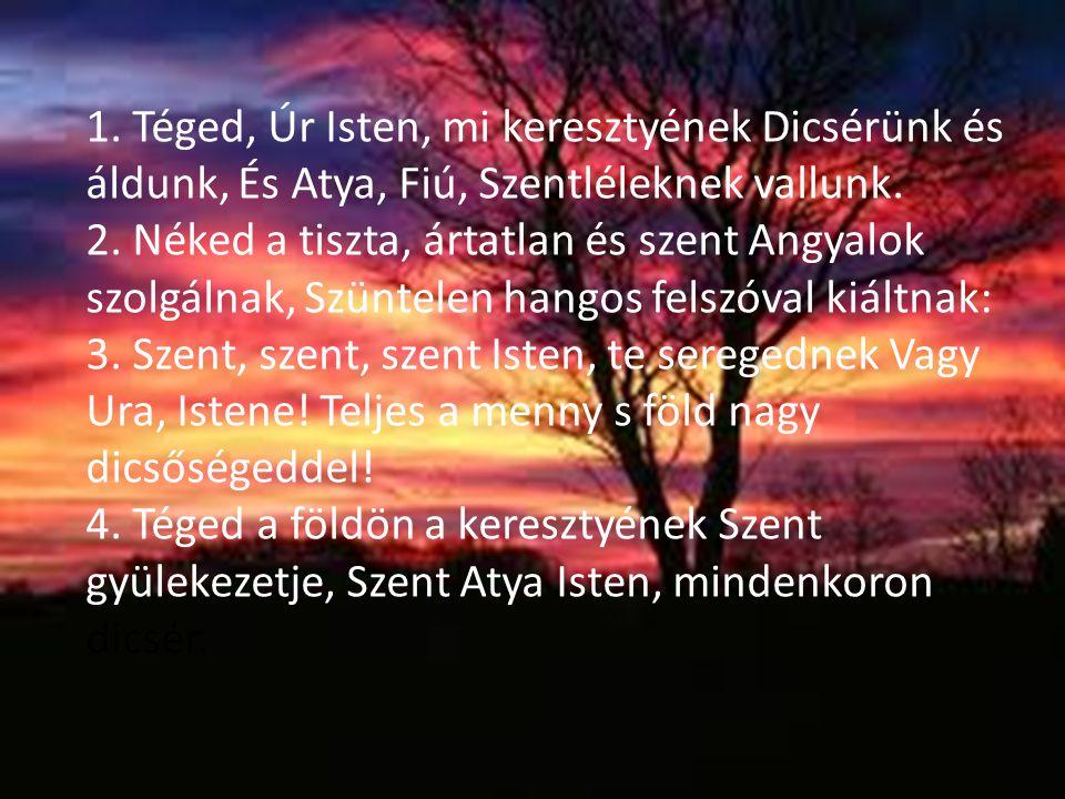 1. Téged, Úr Isten, mi keresztyének Dicsérünk és áldunk, És Atya, Fiú, Szentléleknek vallunk.