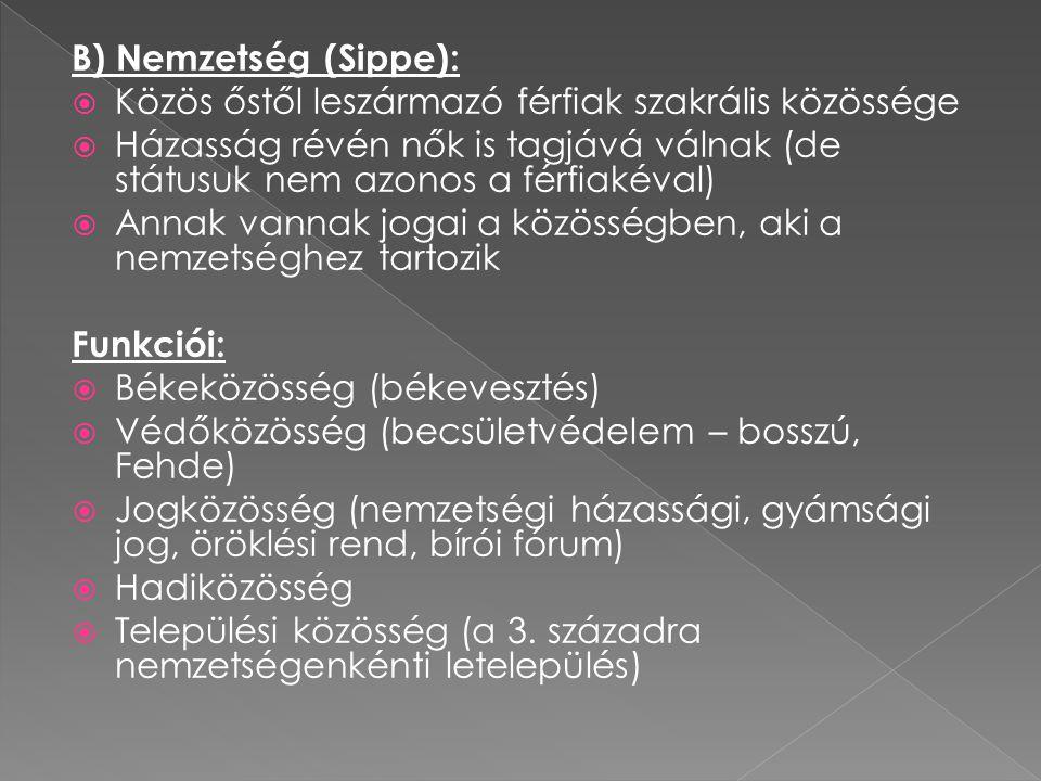 B) Nemzetség (Sippe): Közös őstől leszármazó férfiak szakrális közössége.