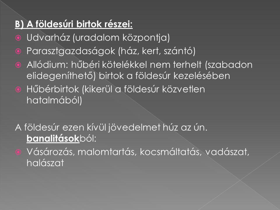 B) A földesúri birtok részei:
