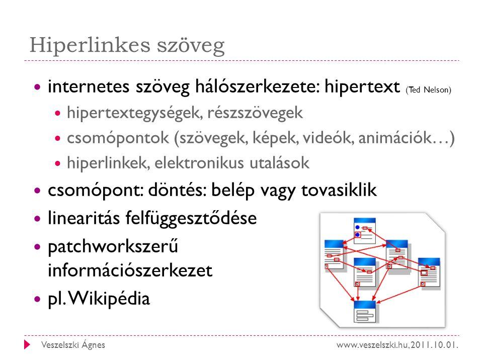 Hiperlinkes szöveg internetes szöveg hálószerkezete: hipertext (Ted Nelson) hipertextegységek, részszövegek.