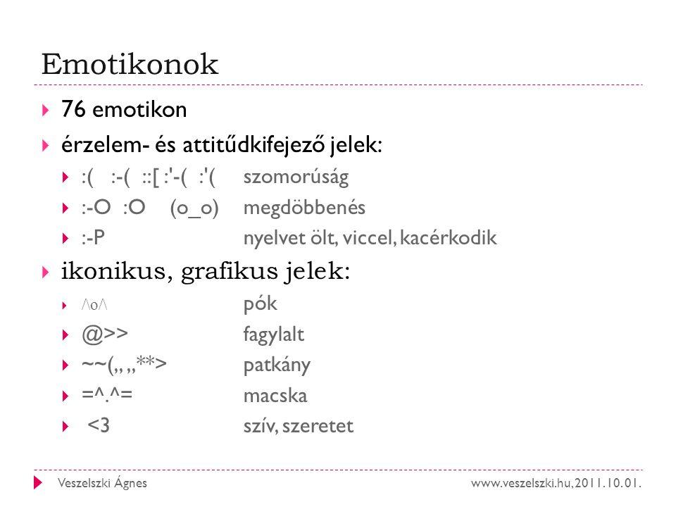 Emotikonok 76 emotikon érzelem- és attitűdkifejező jelek: