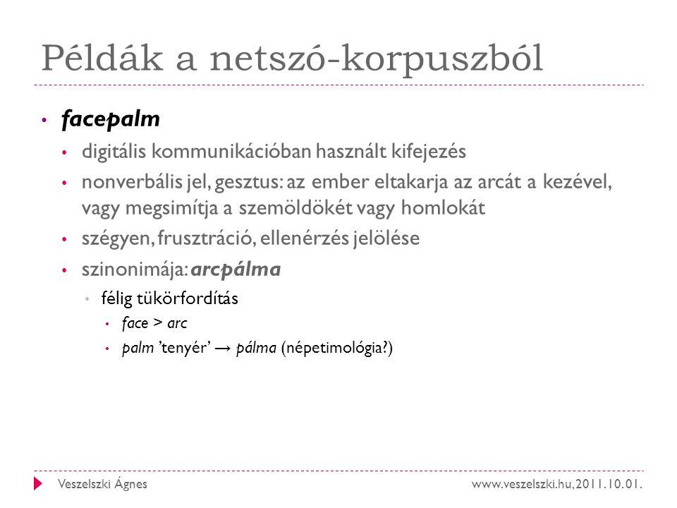 Példák a netszó-korpuszból