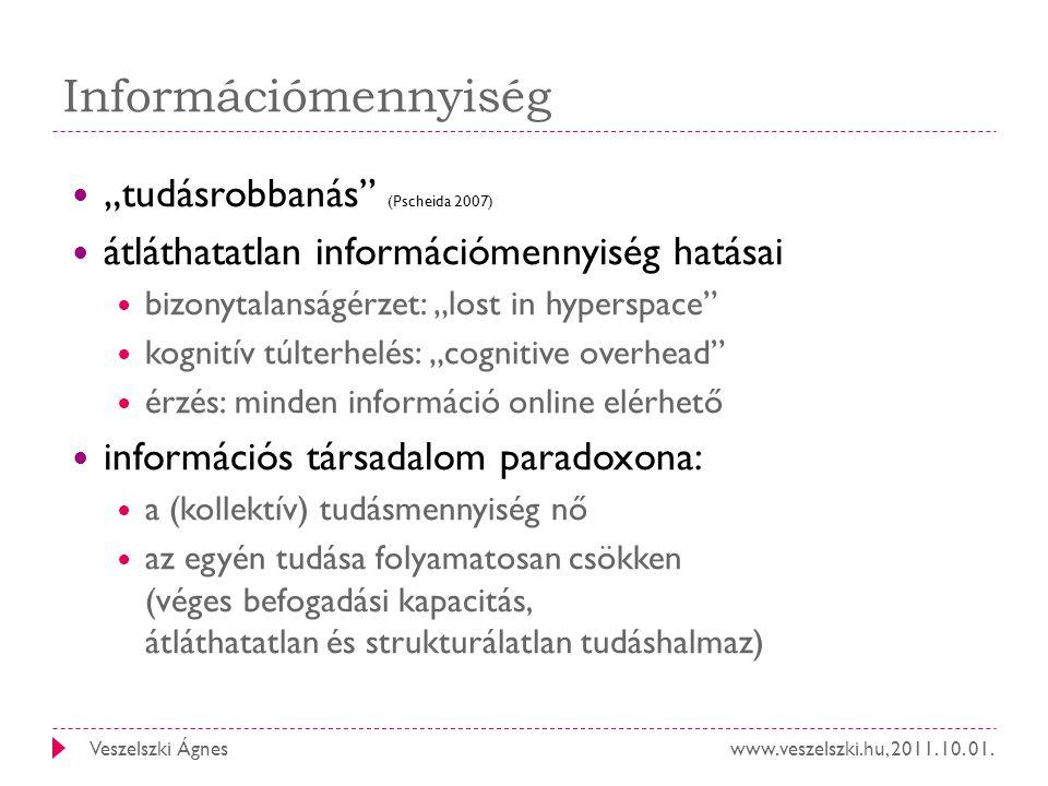 """Információmennyiség """"tudásrobbanás (Pscheida 2007)"""