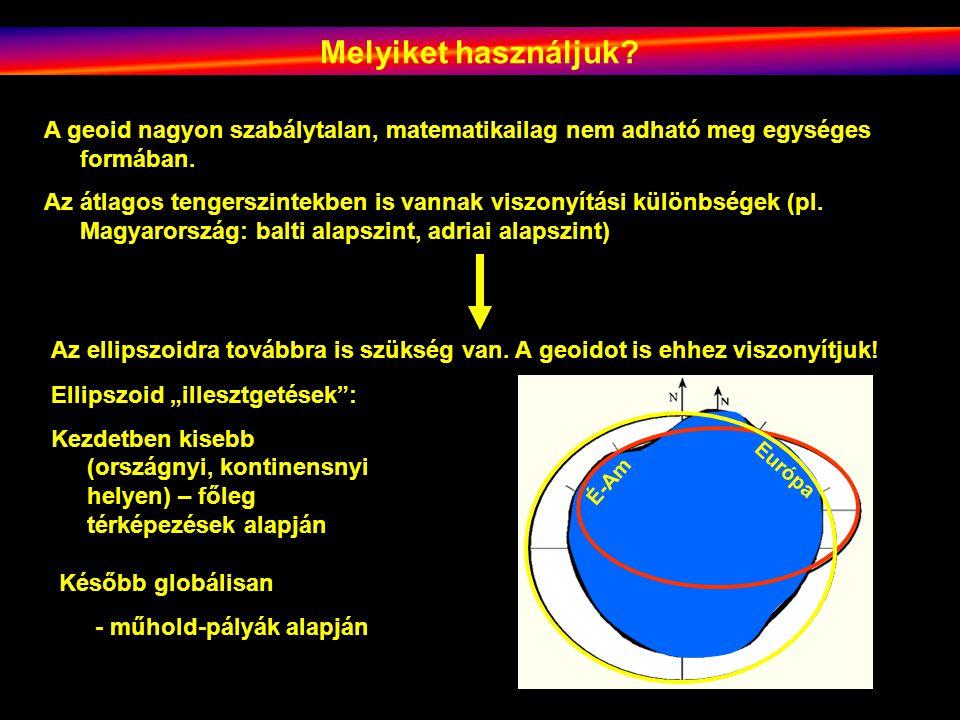 Melyiket használjuk A geoid nagyon szabálytalan, matematikailag nem adható meg egységes formában.