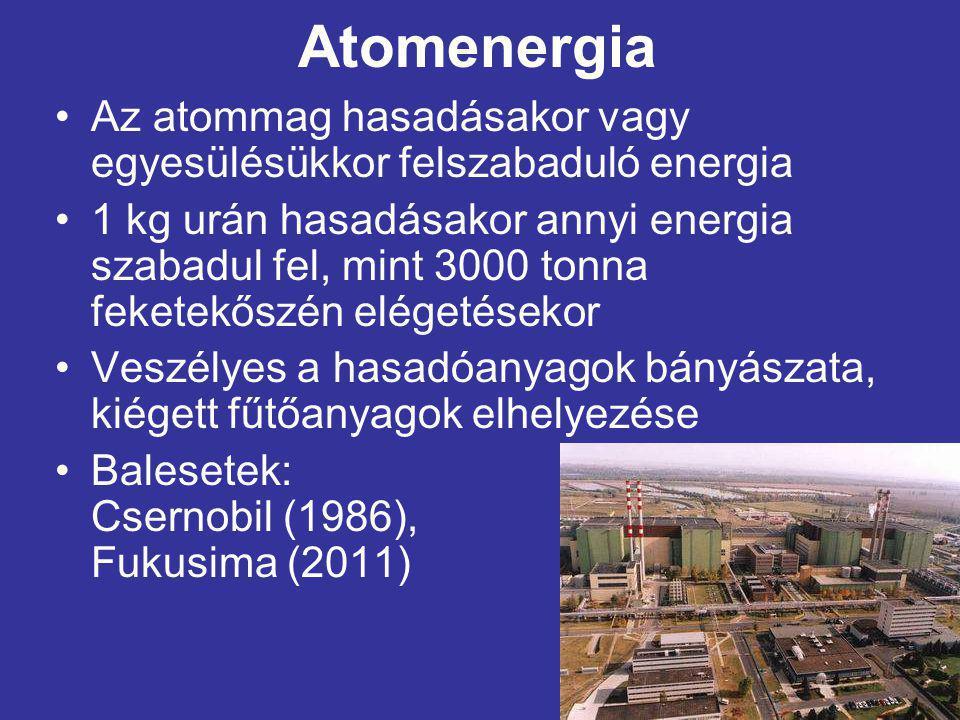 Atomenergia Az atommag hasadásakor vagy egyesülésükkor felszabaduló energia.