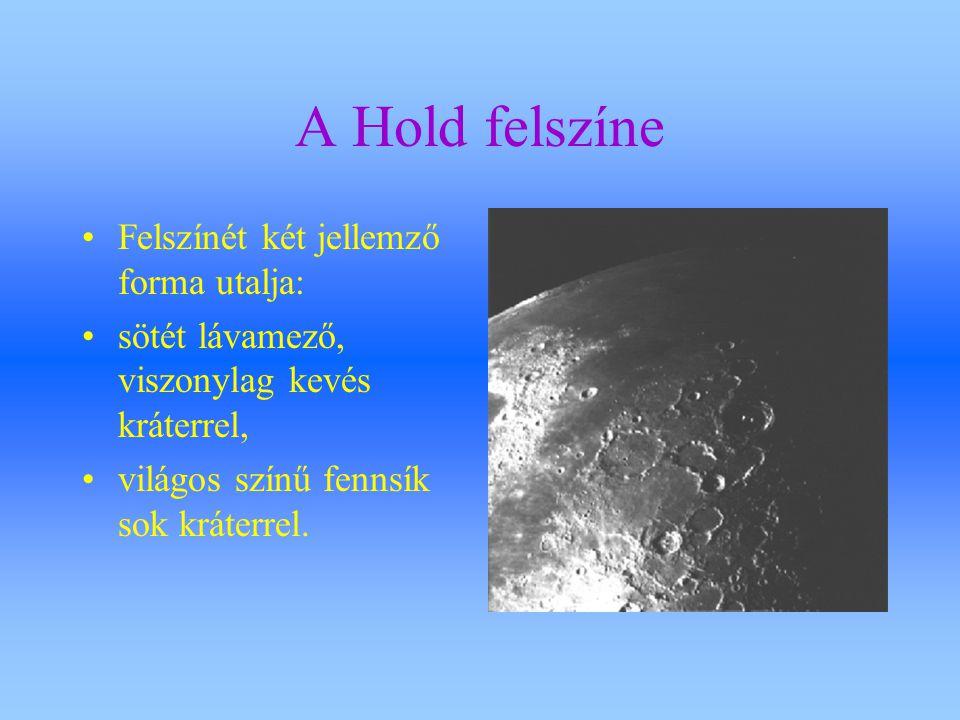 A Hold felszíne Felszínét két jellemző forma utalja:
