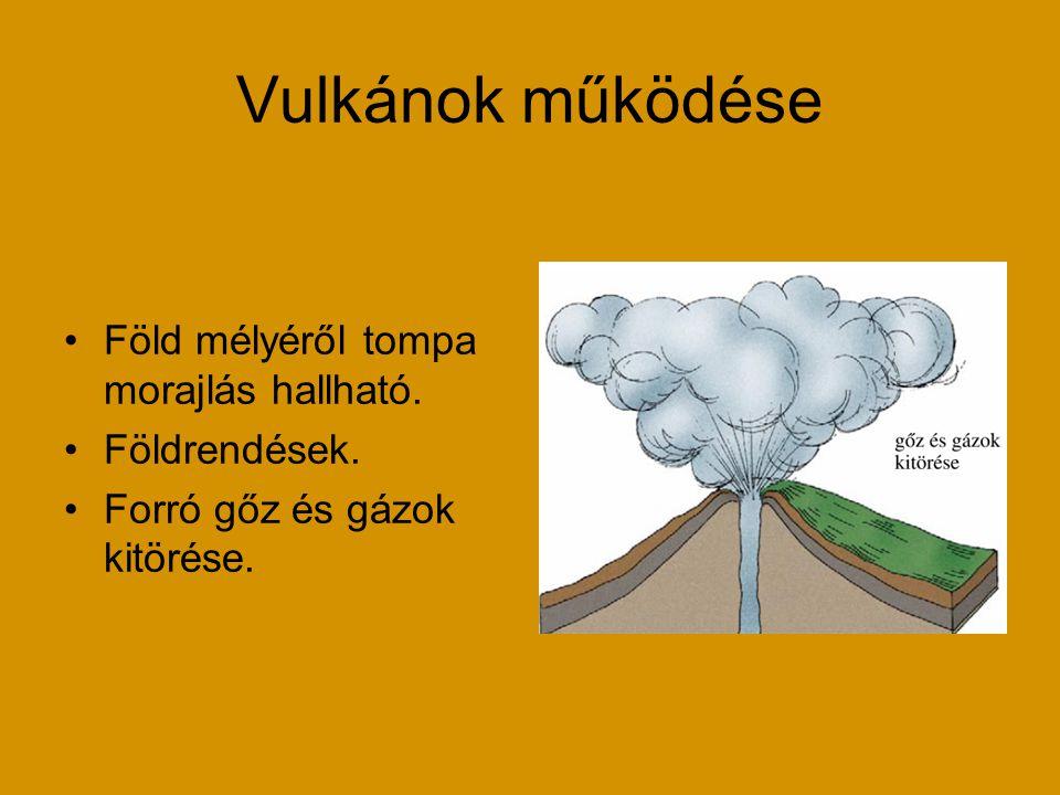 Vulkánok működése Föld mélyéről tompa morajlás hallható. Földrendések.