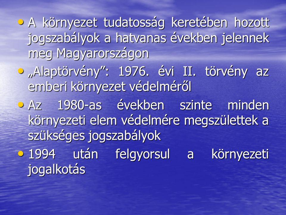 A környezet tudatosság keretében hozott jogszabályok a hatvanas években jelennek meg Magyarországon