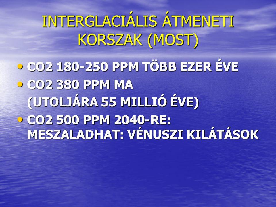 INTERGLACIÁLIS ÁTMENETI KORSZAK (MOST)