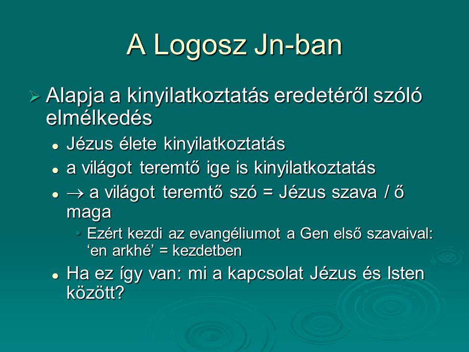 A Logosz Jn-ban Alapja a kinyilatkoztatás eredetéről szóló elmélkedés