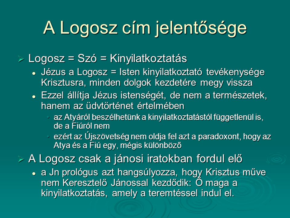 A Logosz cím jelentősége