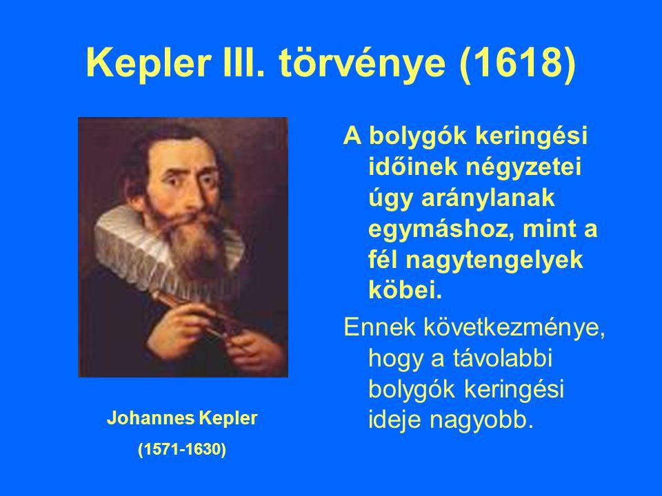 Kepler III. törvénye (1618) A bolygók keringési időinek négyzetei úgy aránylanak egymáshoz, mint a fél nagytengelyek köbei.