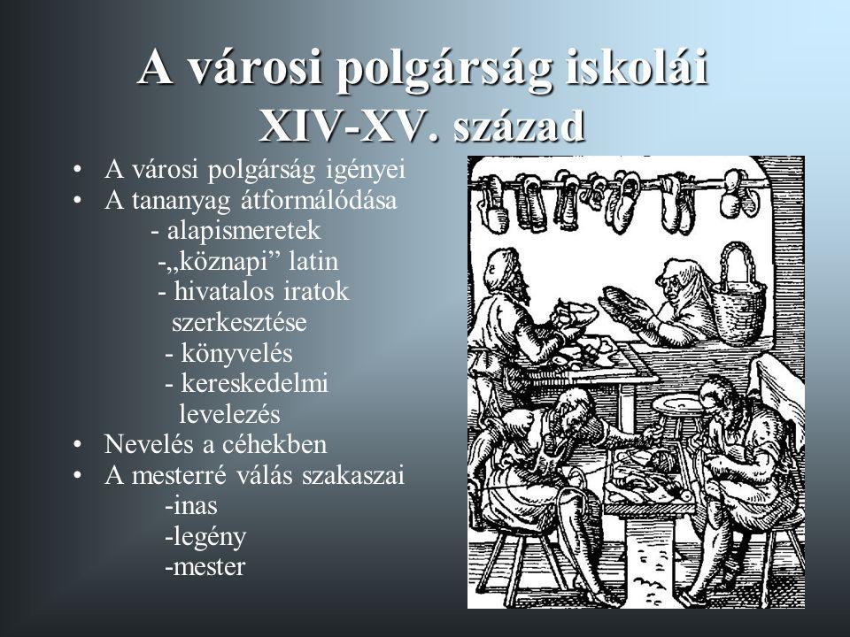 A városi polgárság iskolái XIV-XV. század