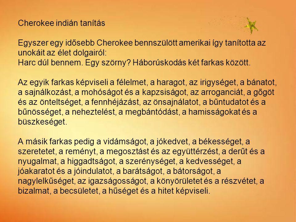 Cherokee indián tanítás Egyszer egy idősebb Cherokee bennszülött amerikai így tanította az unokáit az élet dolgairól: Harc dúl bennem.