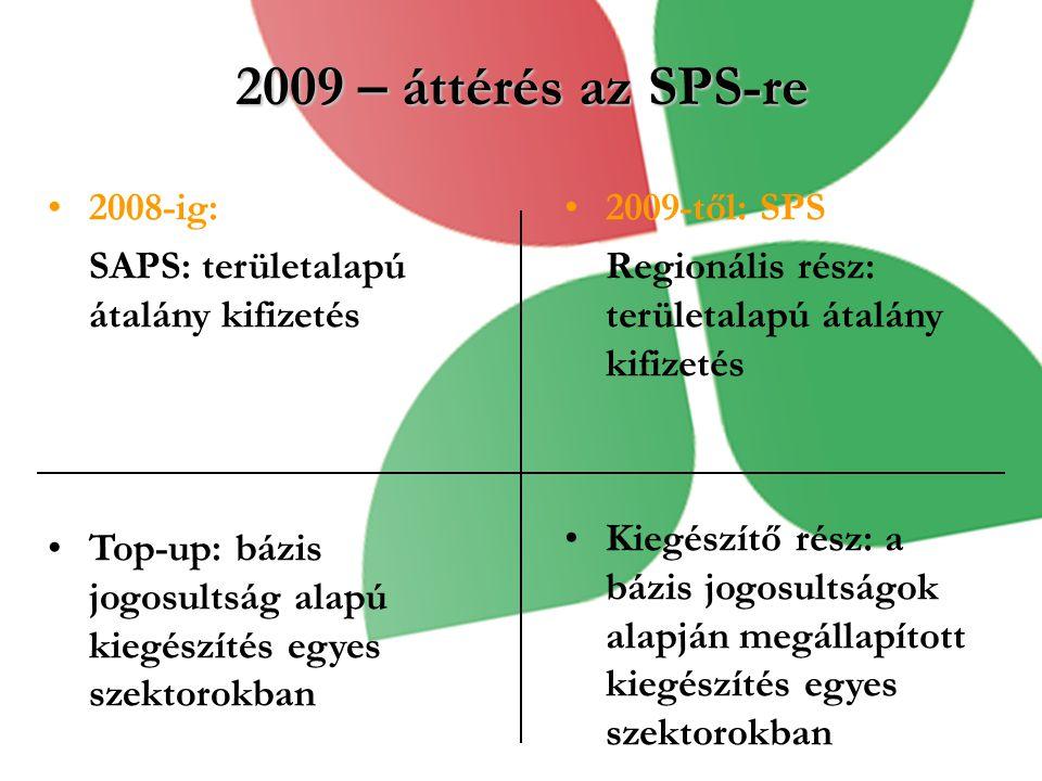 2009 – áttérés az SPS-re 2008-ig: SAPS: területalapú átalány kifizetés