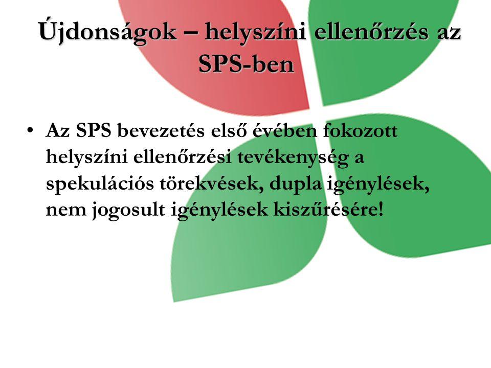 Újdonságok – helyszíni ellenőrzés az SPS-ben