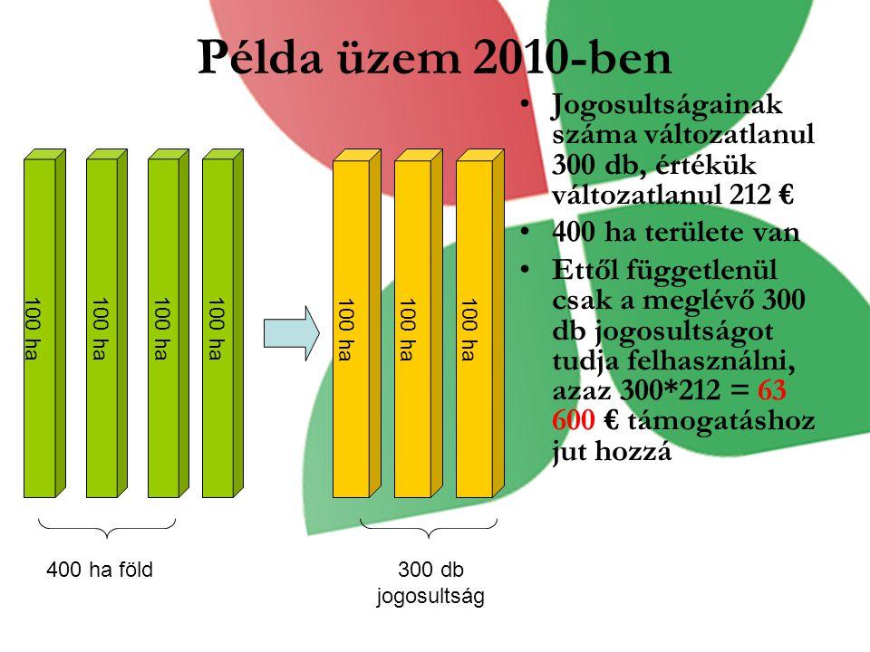Példa üzem 2010-ben Jogosultságainak száma változatlanul 300 db, értékük változatlanul 212 € 400 ha területe van.