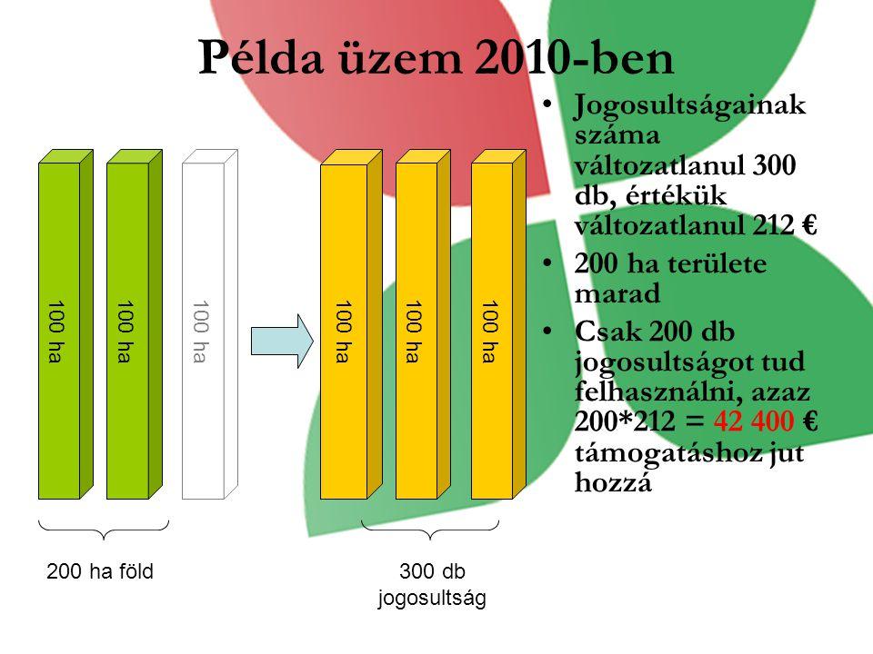 Példa üzem 2010-ben Jogosultságainak száma változatlanul 300 db, értékük változatlanul 212 € 200 ha területe marad.