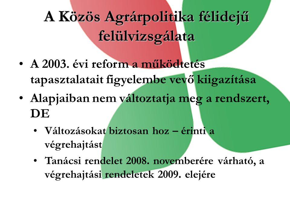 A Közös Agrárpolitika félidejű felülvizsgálata