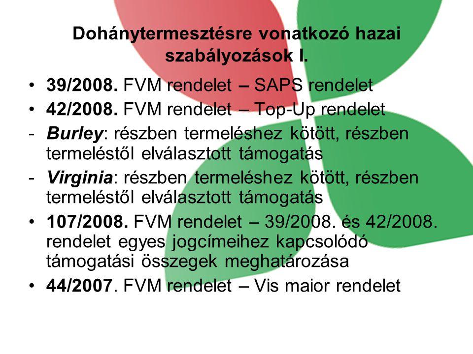 Dohánytermesztésre vonatkozó hazai szabályozások I.