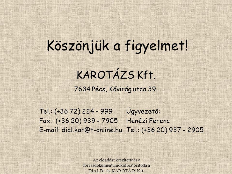 Köszönjük a figyelmet! KAROTÁZS Kft. 7634 Pécs, Kővirág utca 39.