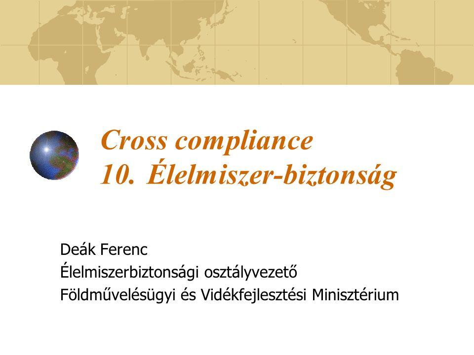 Cross compliance 10. Élelmiszer-biztonság
