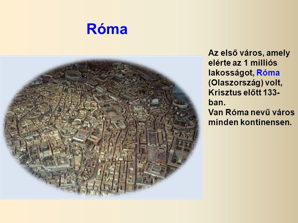 Róma Az első város, amely elérte az 1 milliós lakosságot, Róma (Olaszország) volt, Krisztus előtt 133-ban.
