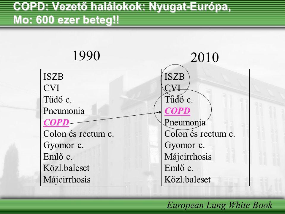 COPD: Vezető halálokok: Nyugat-Európa, Mo: 600 ezer beteg!!