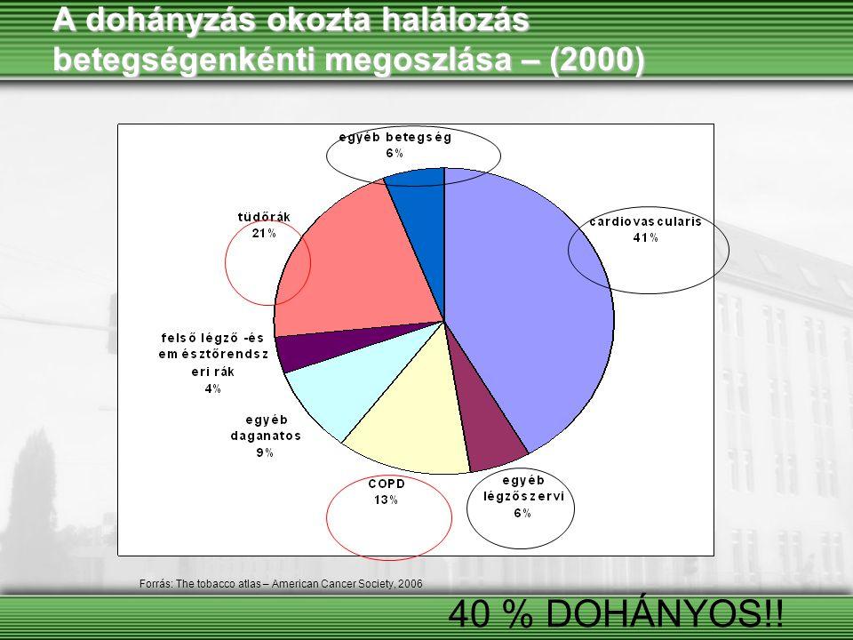 A dohányzás okozta halálozás betegségenkénti megoszlása – (2000)