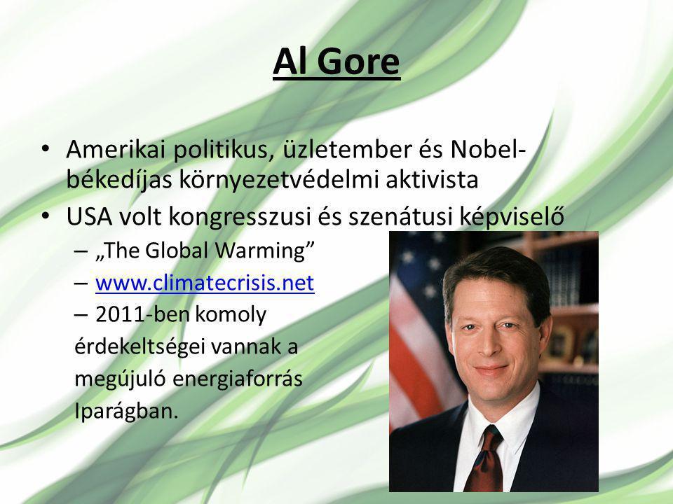 Al Gore Amerikai politikus, üzletember és Nobel-békedíjas környezetvédelmi aktivista. USA volt kongresszusi és szenátusi képviselő.