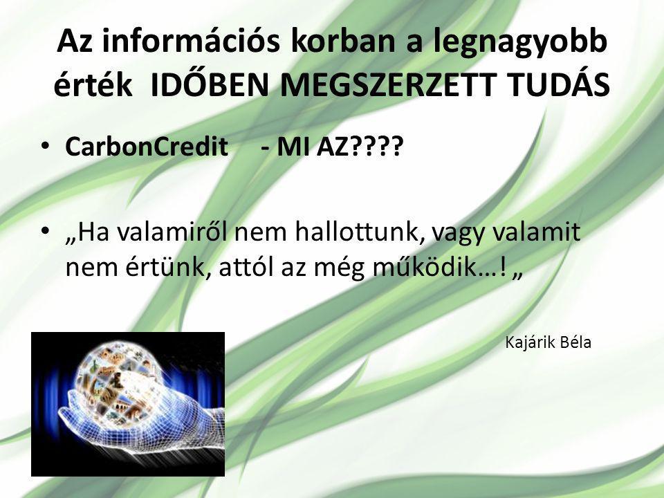 Az információs korban a legnagyobb érték IDŐBEN MEGSZERZETT TUDÁS