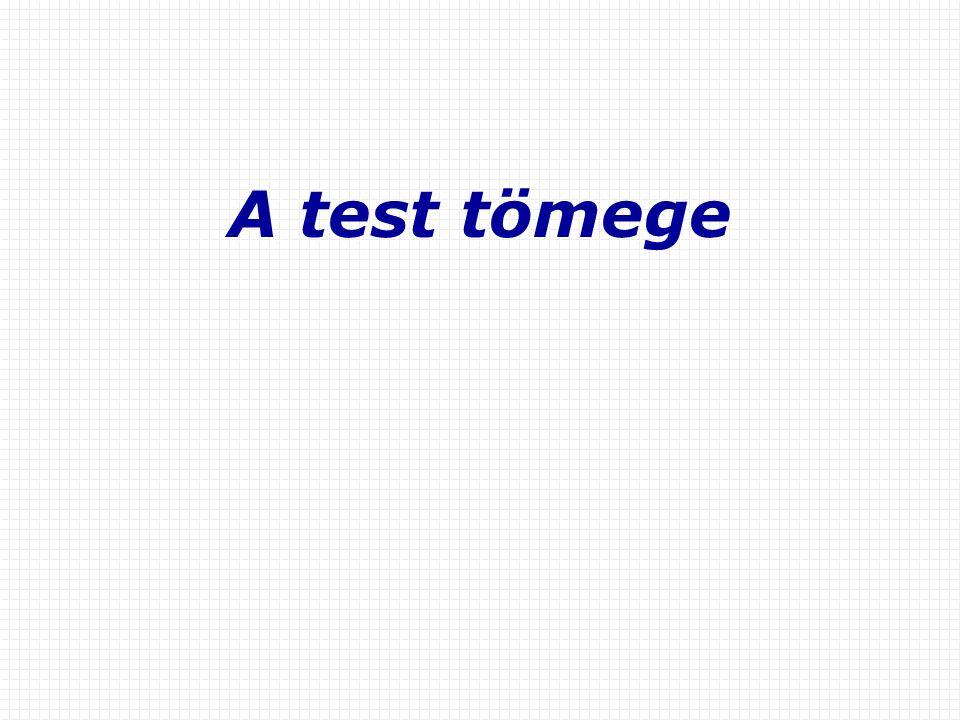 A test tömege