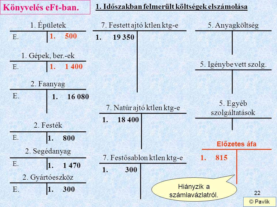 Könyvelés eFt-ban. 1. Időszakban felmerült költségek elszámolása