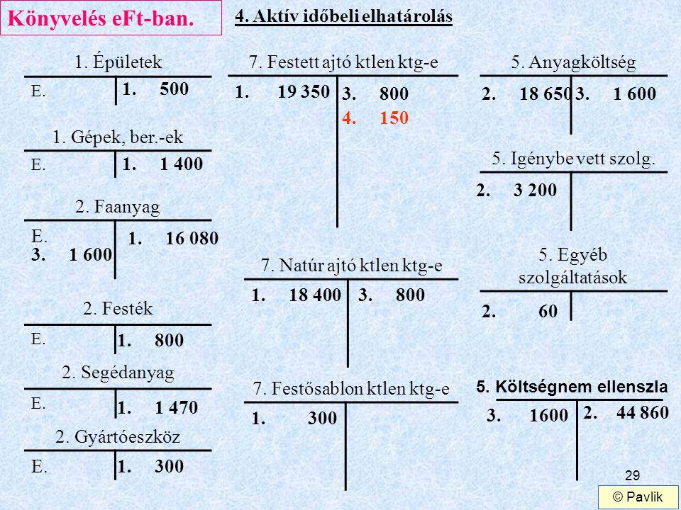 Könyvelés eFt-ban. 4. Aktív időbeli elhatárolás 1. Épületek
