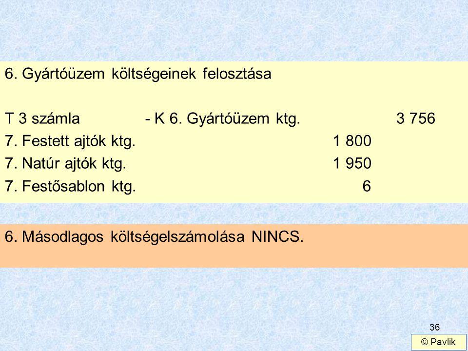 6. Gyártóüzem költségeinek felosztása
