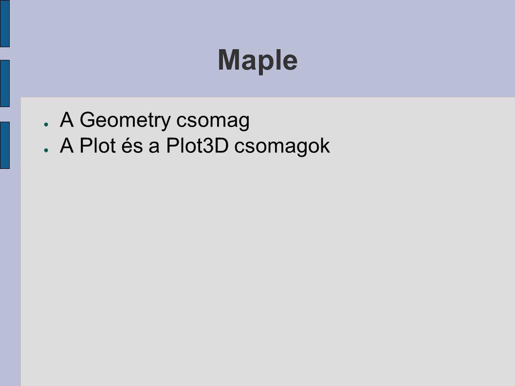 Maple A Geometry csomag A Plot és a Plot3D csomagok