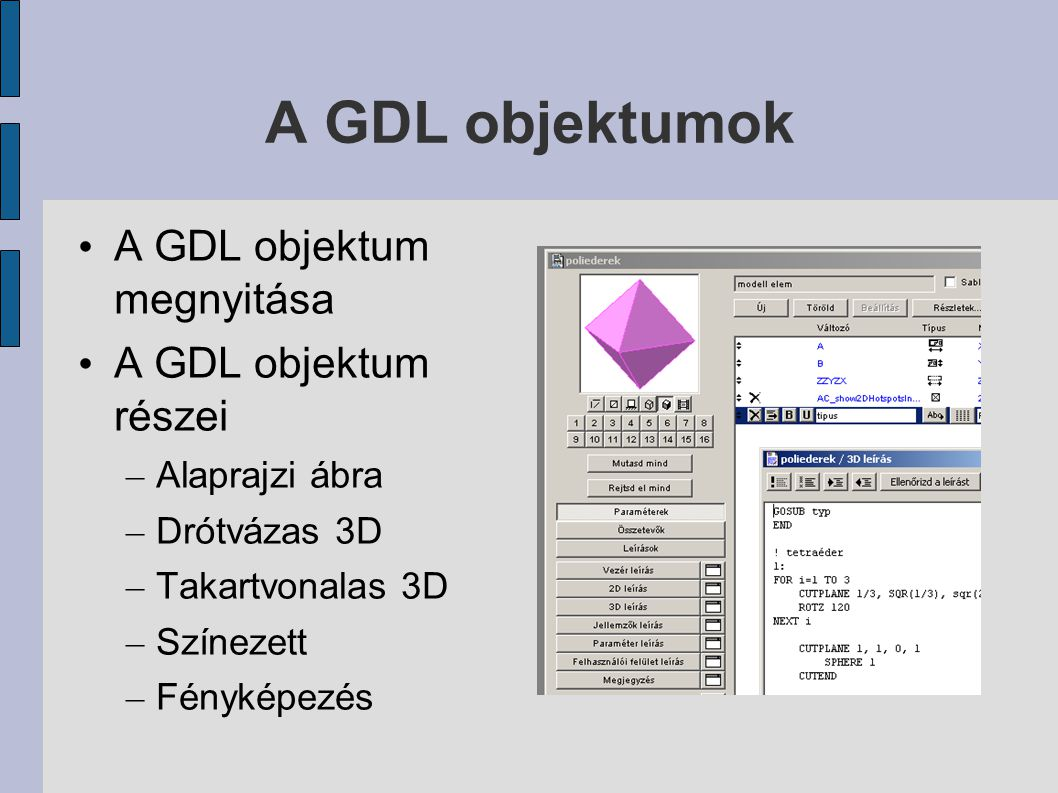 A GDL objektumok A GDL objektum megnyitása A GDL objektum részei