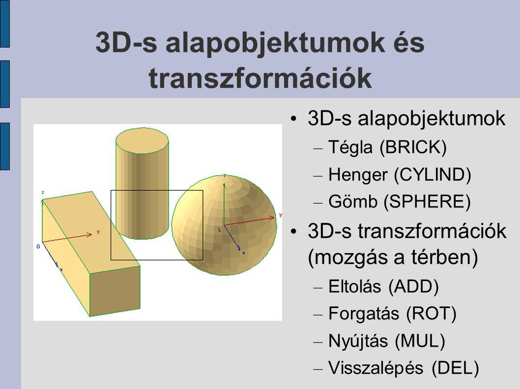 3D-s alapobjektumok és transzformációk