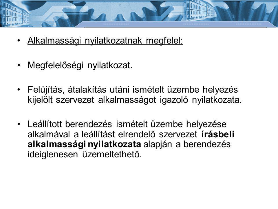 Alkalmassági nyilatkozatnak megfelel: