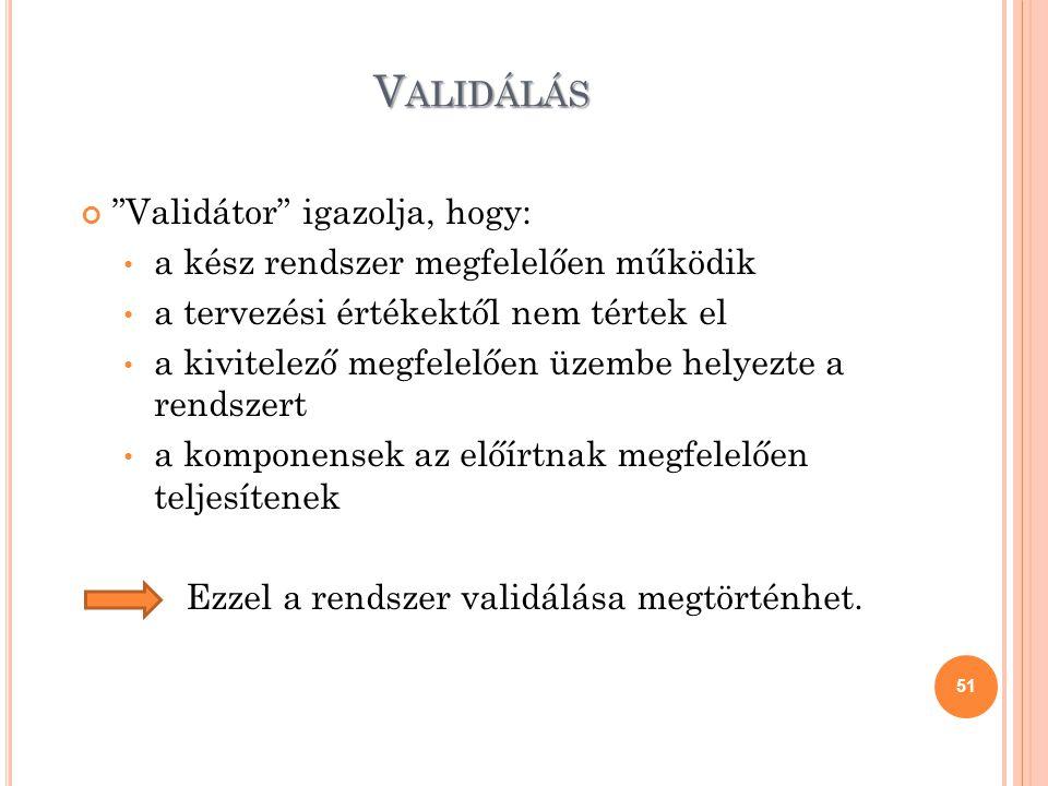Validálás Validátor igazolja, hogy: