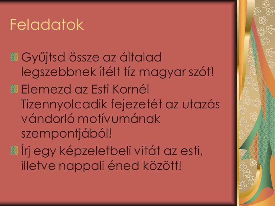 Feladatok Gyűjtsd össze az általad legszebbnek ítélt tíz magyar szót!