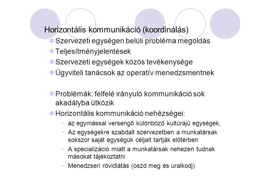 Horizontális kommunikáció (koordinálás)