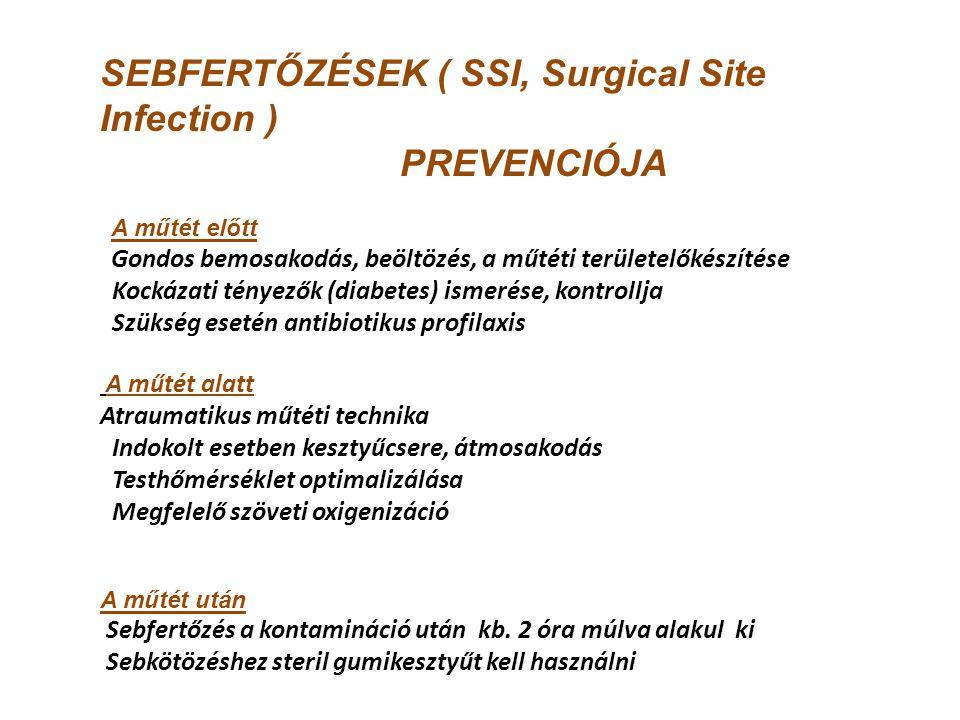SEBFERTŐZÉSEK ( SSI, Surgical Site Infection ) PREVENCIÓJA