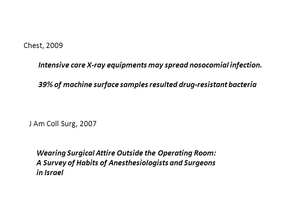 Chest, 2009 Intensive care X-ray equipments may spread nosocomial infection. 39% of machine surface samples resulted drug-resistant bacteria.